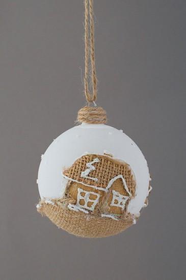 """Новогодняя елочная игрушка шар """"Зимний дом"""""""