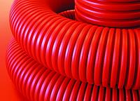 Двустенная труба ПНД гибкая для кабельной канализации д.75мм с протяжкой, SN10, в бухте 50м, цвет красный
