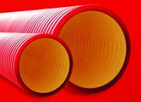 Двустенная труба ПНД жесткая для кабельной канализации д.110мм, SN12, 6м, цвет красный