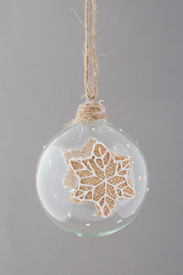 "Новогодняя елочная игрушка шар ""Зимний лист"""
