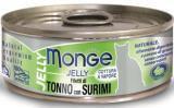 MONGE Jelly Cat cans 80 гр Кусочки для кошек в желе желтоперый тунец с сурими