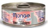 MONGE Jelly Cat cans 80 гр Кусочки для кошек в желе желтоперый тунец с креветками