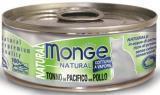 MONGE Natural Cat cans 80 гр Кусочки для кошек с желтоперым тунцом и курицей