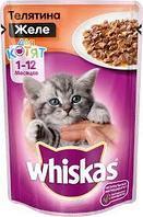 Вискас для котят желе телятина 1*75гр |Влажный корм Whiskas для кошек|