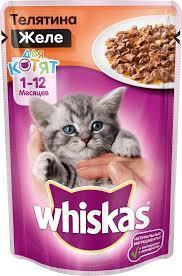 Вискас для котят желе телятина 1*85 гр  Влажный корм Whiskas для кошек 