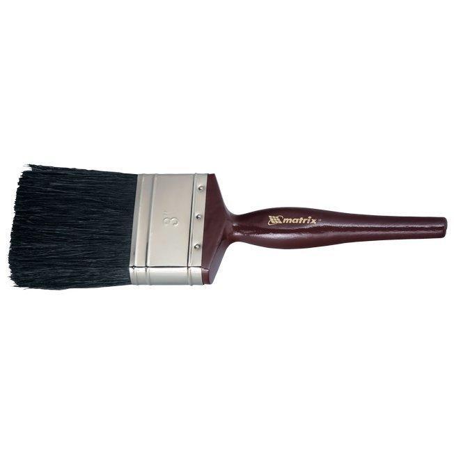 """Кисть плоская """"Декор"""" натуральная черная щетина, деревянная ручка 1,5"""" 38 мм/ MATRIX"""