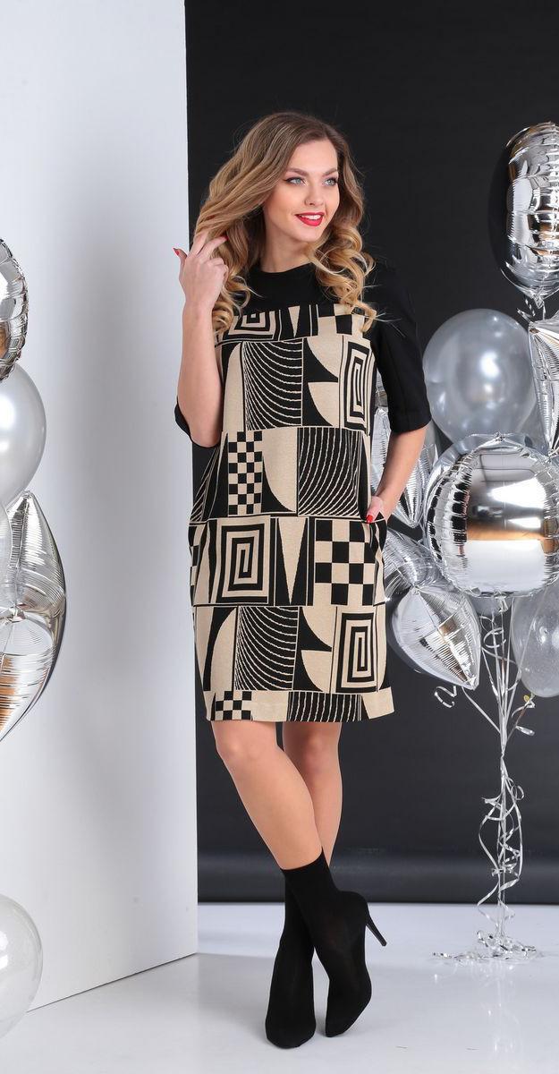Платье Sandyna-13656, беж с черным, 44