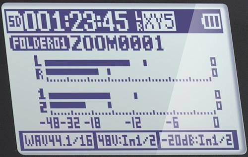 """Все параметры записи выводятся на информативный ЖК-экран цифрового рекордера """"ZOOM H5"""""""