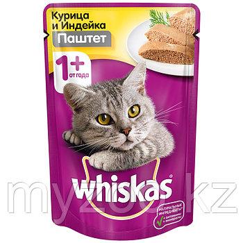 Вискас паштет курица, индейка 1*85 гр  Влажный корм для кошек Whiskas 
