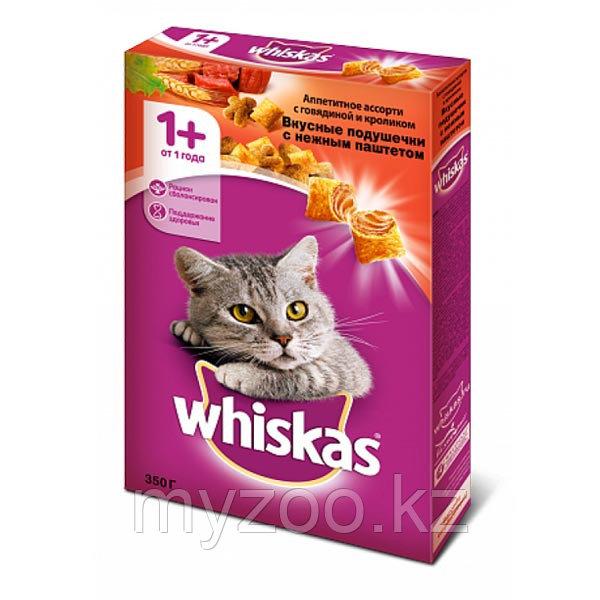 Сухой корм Whiskas Вискас подушечки паштет с говядиной и кроликом 350 гр
