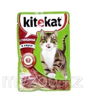 Влажный корм для взрослых кошек Китекат говядина в соусе 1*85 гр