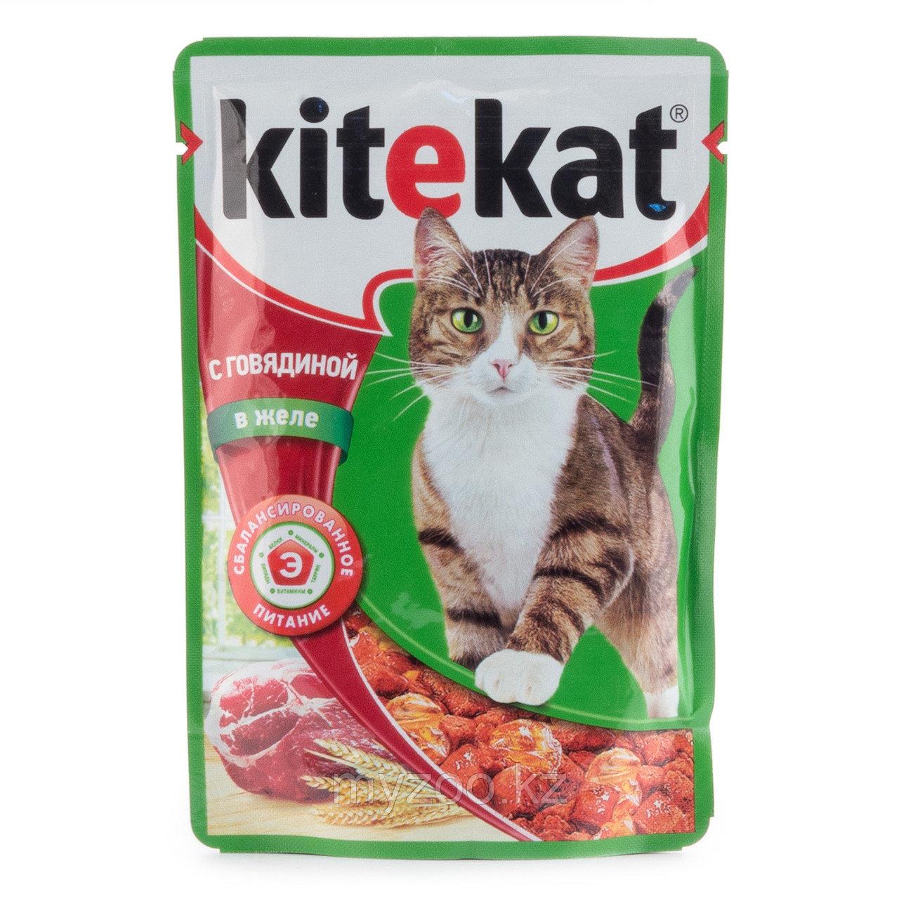 Влажный корм для взрослых кошек Китекат пауч говядина в желе 1*85 гр