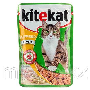 Влажный корм для взрослых кошек  Китекат пауч курица в соусе 1*85 гр