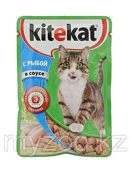 Влажный корм для взрослых кошек  Китекат пауч рыба в соусе 1*85 гр