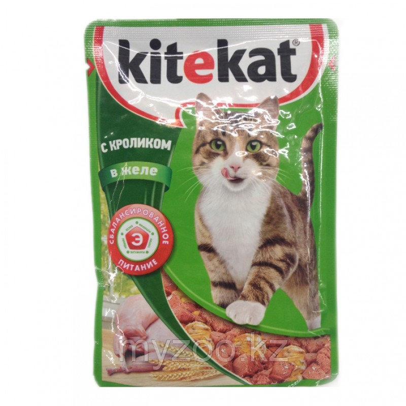 Влажный корм для взрослых кошек Китекат пауч кролик в желе 1*85 гр