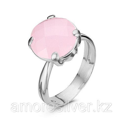Кольцо Красная Пресня серебро с родием, кварц розовый, круг 2339946ДК размеры - 17,5