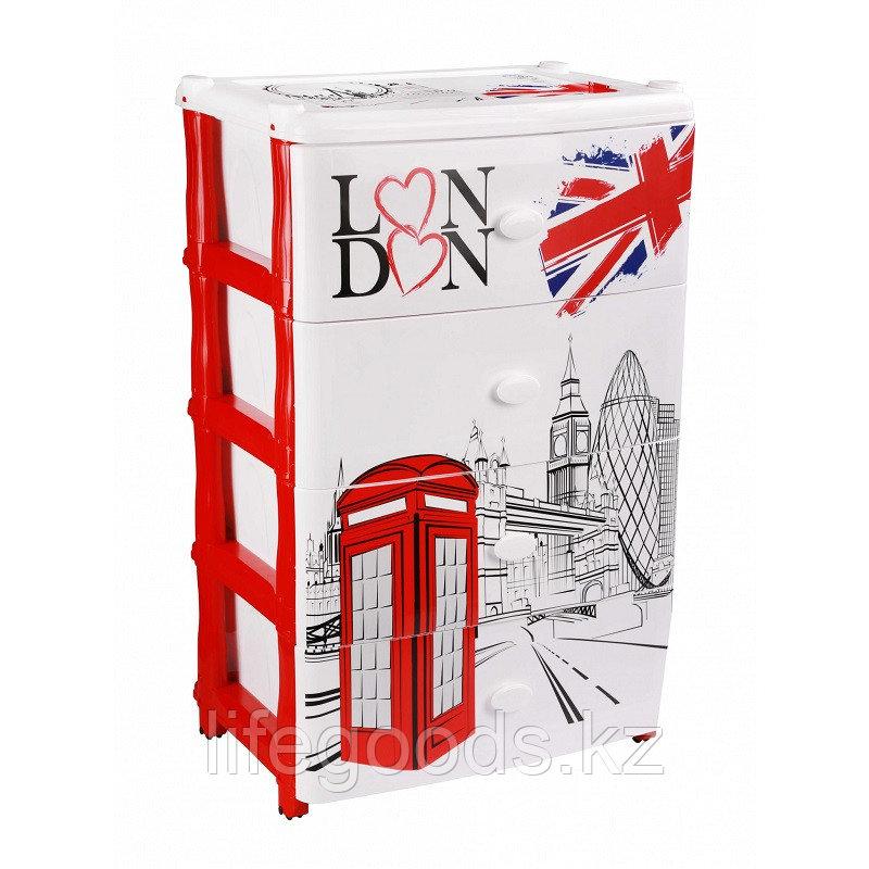 """Комод широкий """"Лондон"""" 4-х секционный пластиковый, М2263"""