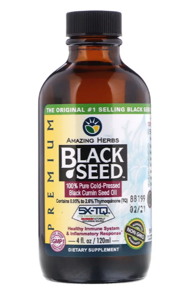 Amazing Herbs, Черное семя, на 100% чистое семя черного тмина холодного отжима, 4 жидк. унций (120 мл)