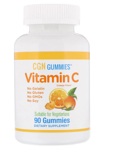 California Gold Nutrition, Жевательные таблетки с витамином C, натуральный ароматизатор «Апельсин», без желати
