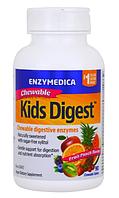 Enzymedica, Kids Digest, жевательные пищеварительные ферменты, фруктовый пунш, 90 жевательных таблеток