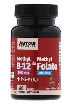 Jarrow Formulas, Метил B12 и Метилфолат, Вкус Вишни, 60 леденцов