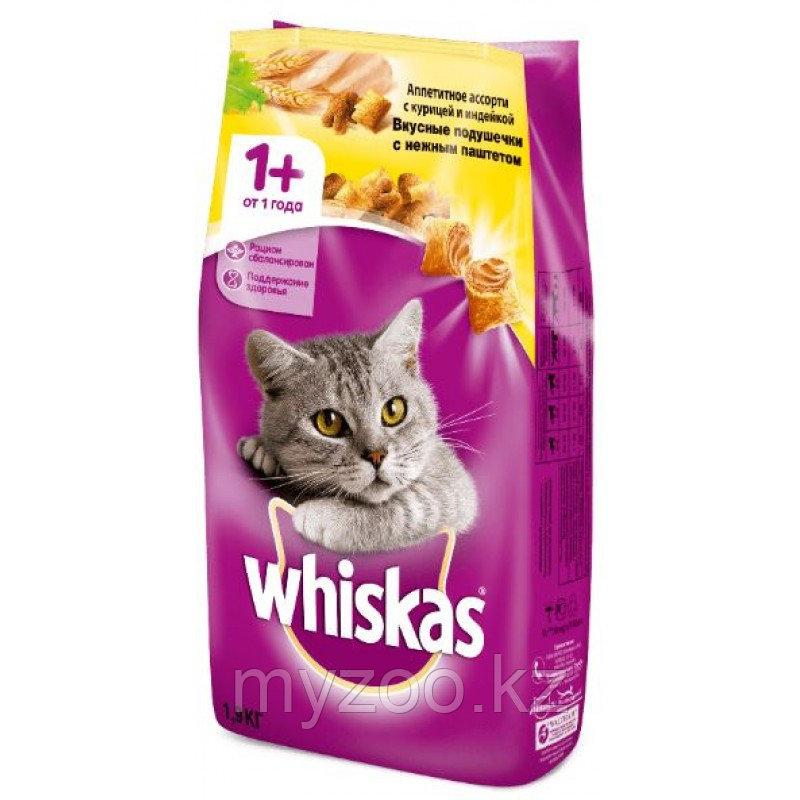 Сухой корм Whiskas Вискас подушечки с нежным паштетом из курицы с индейкой 1.9 кг