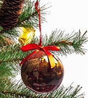Набор елочных шаров с рисунком «Дед Мороз у камина», 7 предметов, фото 1