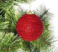 Набор елочных шаров декорированных бисером и глиттером, красные, фото 1