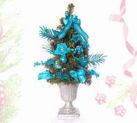 Елка с декоративными украшениями, в вазе, 70 см (Синий)