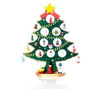Набор елочных украшений со складной елкой из дерева, 19 предметов