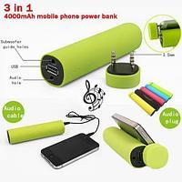 Аккумулятор для зарядки USB-устройств, колонка, подставка TUBE PowerBank [3-в-1]