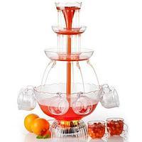 Фонтан для напитков Party Fountain в четыре уровня с комплектом чашек