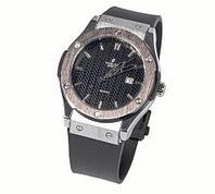 Часы наручные мужские реплика Hublot Geneve Big Bang (Сталь, черный ремешок), фото 1