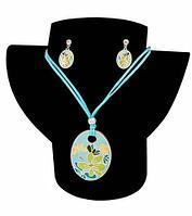 Комплект кулон и серьги Kuku Fashion Flowers (Голубой)