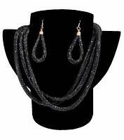 Комплект ожерелье тройное и серьги «Звездная пыль» (Черный)