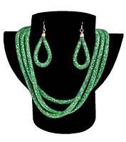 Комплект ожерелье тройное и серьги «Звездная пыль» (Зеленый), фото 1