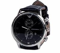 Часы наручные мужские реплика Emporio Armani AR-B0725 (Сталь, черный циферблат), фото 1