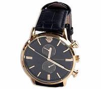 Часы наручные мужские реплика Emporio Armani AR-B0725 (Золото, черный циферблат), фото 1