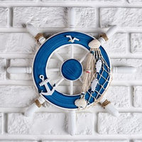 Декор интерьерный 'Штурвал' на стену, бело-синий, 32 х 32 х 2 см