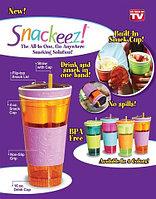 Стакан-непроливайка c контейнером для закусок Snackeez 2 в 1 (Голубой)