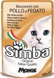 SIMBA POUCHES, Симба кусочки с курицей и печенью для кошек, пауч 100 гр