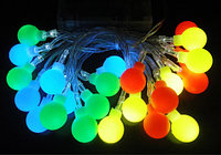 Электрогирлянда многоцветная RGB LED с плафонами, 4 метра (Шарик), фото 1