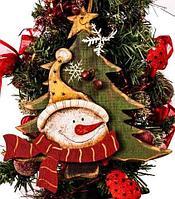 Декоративная новогодняя подвеска «Ёлка и снеговик» KL-87804