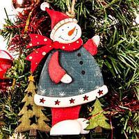 Деревянные новогодние подвески KH-16333/16328 (Снеговик)