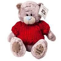 Мягкая игрушка медвежонок Teddy в красной кофточке «I love you»