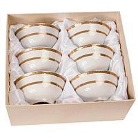 Набор для чая из 6 пиал с позолоченным узором 24 Карат (Полоска), фото 1