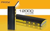 Аккумулятор портативный PRODA STAR TALK со встроенной лампой-фонариком [3 USB выхода; 12000mAh] (Черный), фото 1