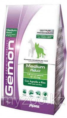 Gemon Dog Medium Adult, сухой корм для взрослых собак средних пород с ягнёнком и рисом, уп. 15кг.