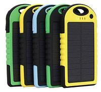 Аккумулятор для зарядки портативный на солнечной батарее с фонариком Solar Charger [5000 мАч.] (Черный), фото 1