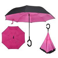 Чудо-зонт перевёртыш «My Umbrella» SUNRISE (Чёрная с розовым), фото 1